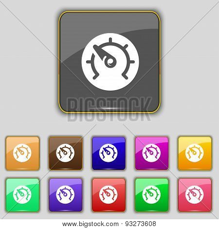 Speed, Speedometer Icon Sign. Set With Eleven Colored Buttons For Your Site. Vector