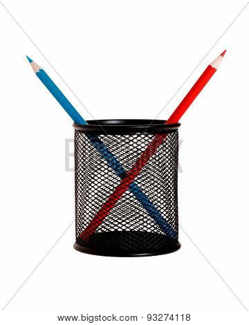 Blue And Red Pencils In Pencil Holder Isolated On White