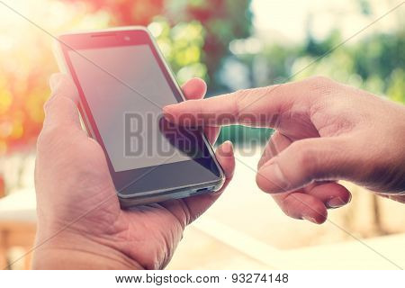 man using mobile