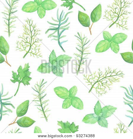 Watercolor herb spices seamless pattern