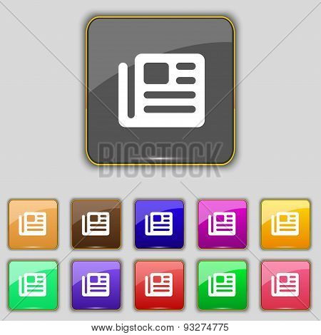 Book, Newspaper Icon Sign. Set With Eleven Colored Buttons For Your Site. Vector
