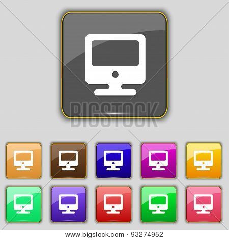 Monitor Icon Sign. Set With Eleven Colored Buttons For Your Site. Vector