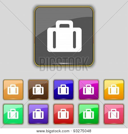 Suitcase Icon Sign. Set With Eleven Colored Buttons For Your Site. Vector