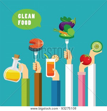 Clean Food Concept Flat Design