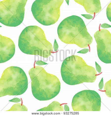 Watercolor pear seamless pattern