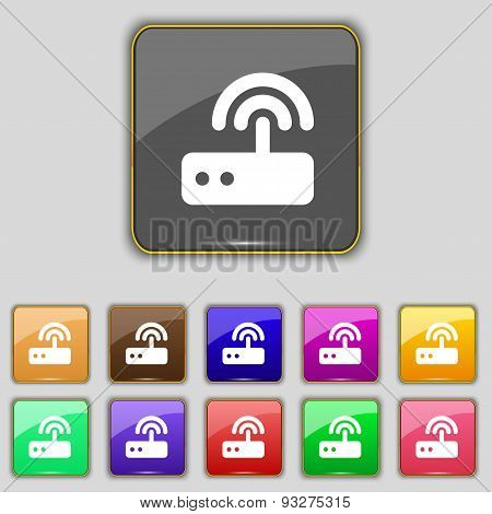 Wi Fi Router Icon Sign. Set With Eleven Colored Buttons For Your Site. Vector