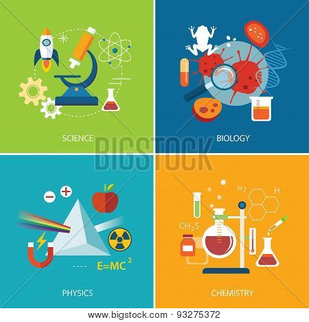 Science Concept ,physics ,chemistry,biology Flat Design