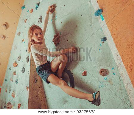 Free Climber Little Girl Training Indoor
