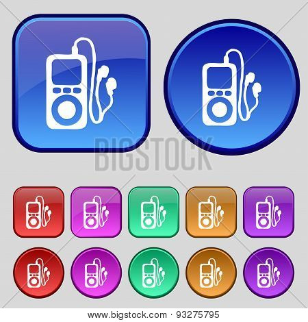 Mp3 Player, Headphones, Music Icon Sign. A Set Of Twelve Vintage Buttons For Your Design. Vector