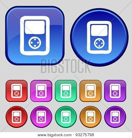 Tetris, Video Game Console Icon Sign. A Set Of Twelve Vintage Buttons For Your Design. Vector