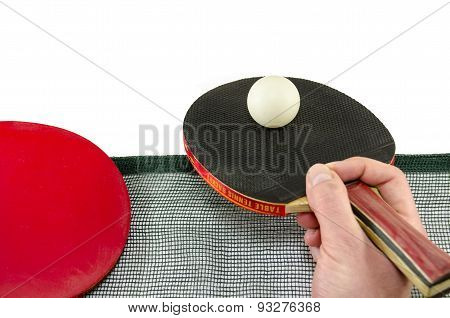 Male Hand Holding A Ping Pong Racket, Isolated