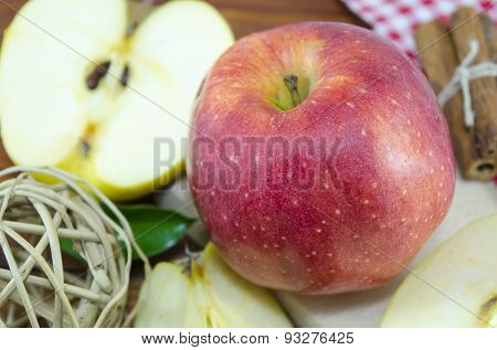 Halved And Whole Apple