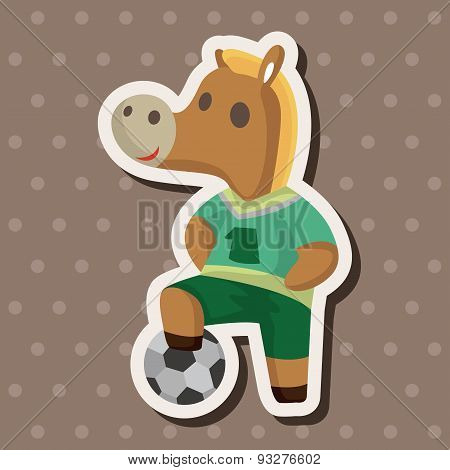 Animal Horse Doing Sports Cartoon Theme Elements