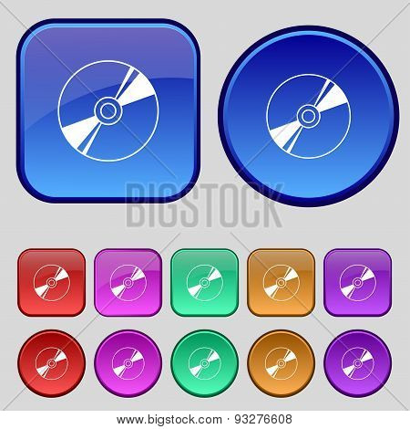 Cd, Dvd, Compact Disk, Blue Ray Icon Sign. A Set Of Twelve Vintage Buttons For Your Design. Vector