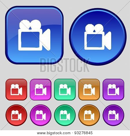 Camcorder Icon Sign. A Set Of Twelve Vintage Buttons For Your Design. Vector
