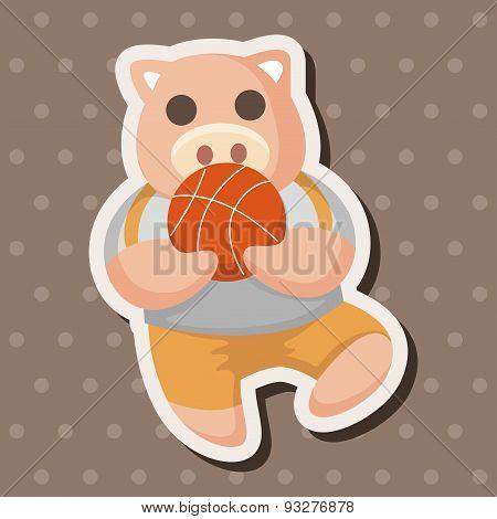 Animal Pig Doing Sports Cartoon Theme Elements