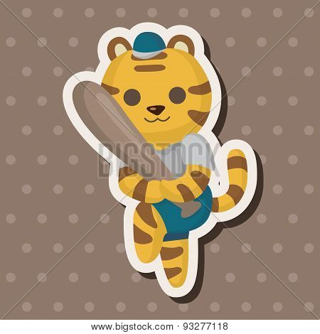 Animal Tiger Doing Sports Cartoon Theme Elements