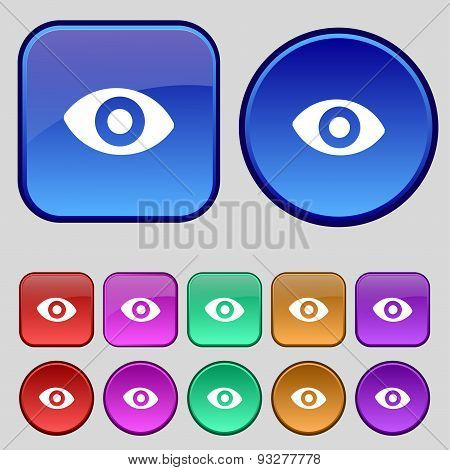 Sixth Sense, The Eye Icon Sign. A Set Of Twelve Vintage Buttons For Your Design. Vector