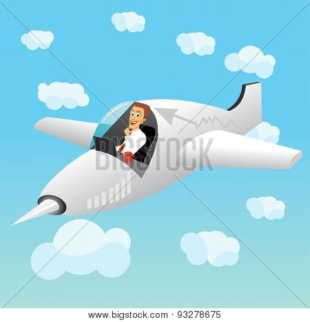businessman working on laptop in plane