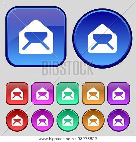 Mail, Envelope, Letter Icon Sign. A Set Of Twelve Vintage Buttons For Your Design. Vector