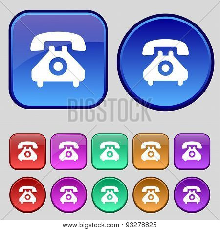 Retro Telephone Handset  Icon Sign. A Set Of Twelve Vintage Buttons For Your Design. Vector