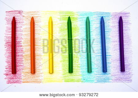 Rainbow Colors And Relevant Crayon