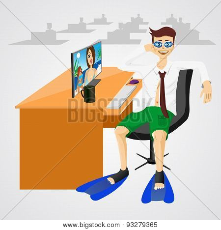 businessman in shorts with swim