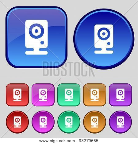 Web Cam Icon Sign. A Set Of Twelve Vintage Buttons For Your Design. Vector