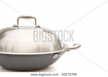 Side View Wok With Lid On White With Clipping Path
