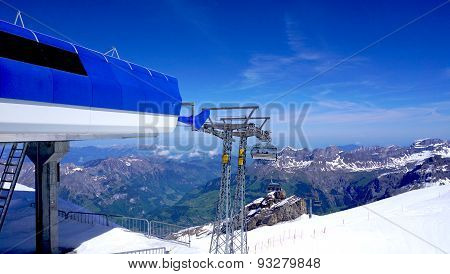 Station Of Cable Car Snow Mountains Titlis