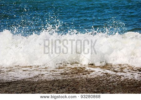 Sea Wave Splashing To The Coast, Natural Background