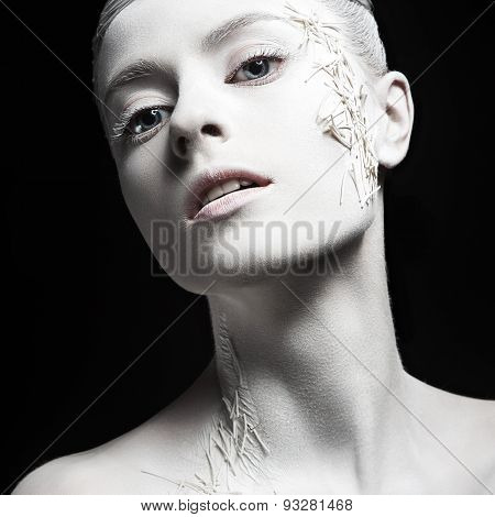 Art fashion girl with white skin. Creative art beauty.