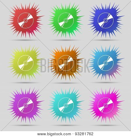Cd, Dvd, Compact Disk, Blue Ray Icon Sign. A Set Of Nine Original Needle Buttons. Vector