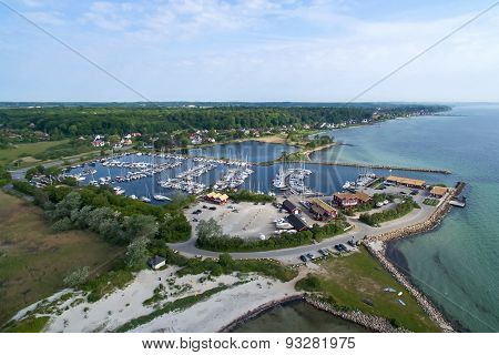 Aerial View Of Nivaa Harbour In Denmark