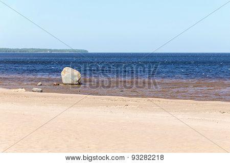 Sandy Coast Of The Sea Gulf With One Stone