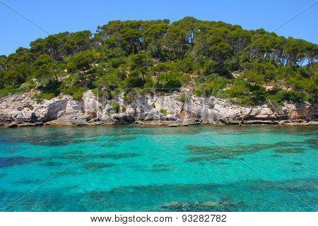 Turquoise Sea in Cala Caldana Menorca Spain