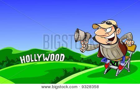 Director shout in a megaphone.