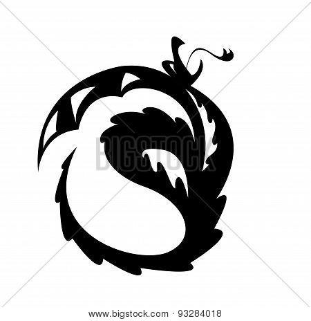 Black Silhouette Of A Dragon