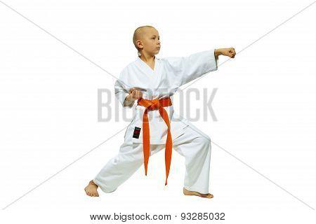 With orange belt athlete beating blow oh-tsuki