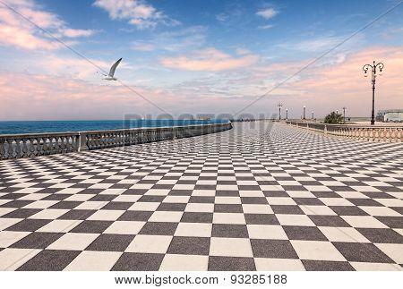 Promenade Of Livorno, Tuscany, Italy