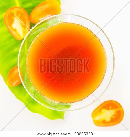 Tomato Juice On White Background.