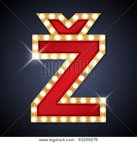 Vector illustration of realistic retro signboard Z with caron. Letter of Chech,  Slovak, Slovenian, Bosnian, Latvian, Lithuanian, Pomak and Berber.
