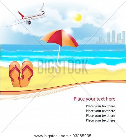 Summer beach with slippers and umbrella. Vector illustration