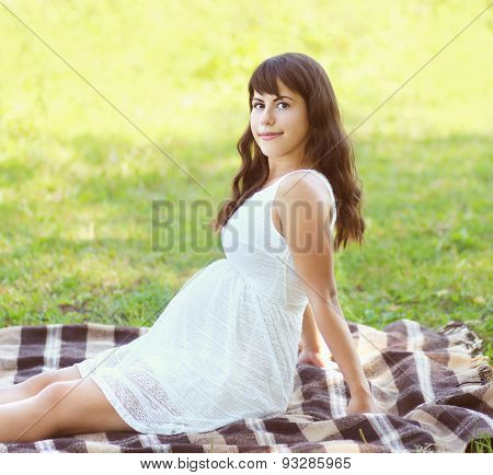 Beautiful Pregnant Young Woman Lying On The Grass In Summer Day