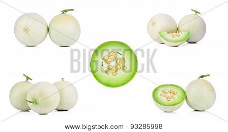 Collection Honeydew Melon On White Background