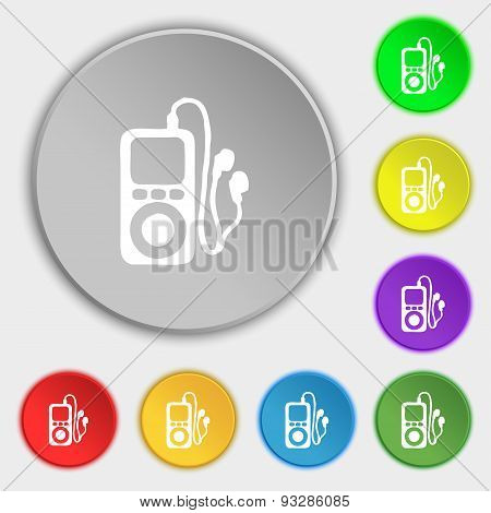 Mp3 Player, Headphones, Music Icon Sign. Symbol On Five Flat Buttons. Vector