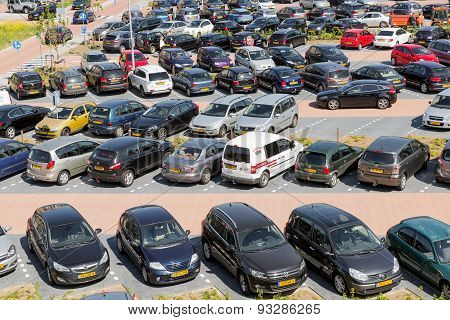 Aerial View Car Park Isala Hospital In Zwolle, The Netherlands