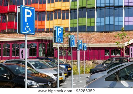Car Park With Special Handicapped Parking Places