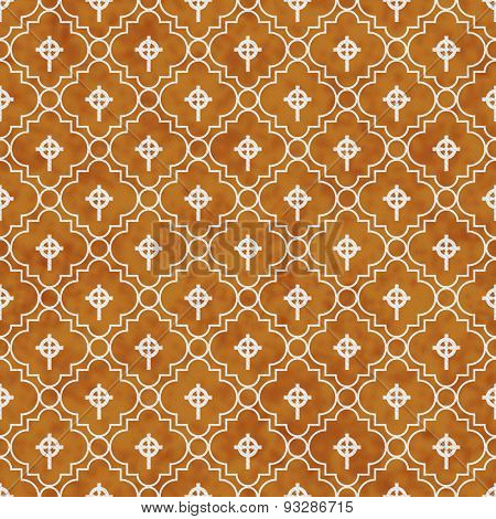 Orange And White Celtic Cross Symbol Tile Pattern Repeat Background