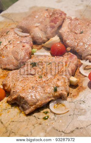 Pork Steak Grilled On Stone Plate